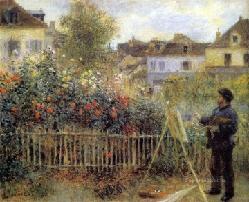 Claude Monet Painting in his Garden at Arenteuil master Pierre Auguste Renoir Oil Paintings
