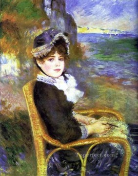 Shore Painting - by the seashore Pierre Auguste Renoir