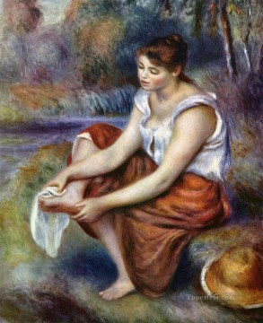 girl wiping her feet Pierre Auguste Renoir Oil Paintings