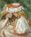 two girls reading in the garden Pierre Auguste Renoir