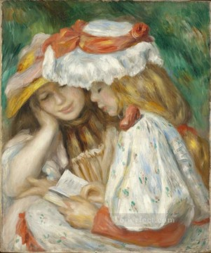 Girls Canvas - two girls reading in the garden Pierre Auguste Renoir