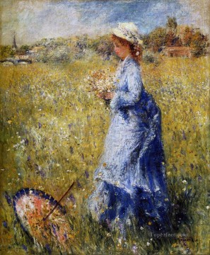woman gathering flowers Pierre Auguste Renoir Oil Paintings