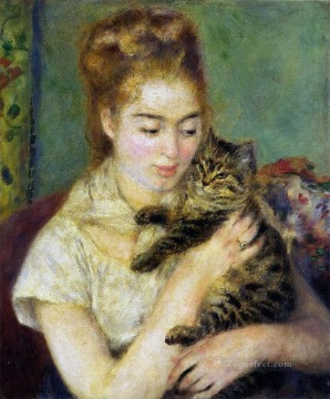 woman with a cat Pierre Auguste Renoir Oil Paintings