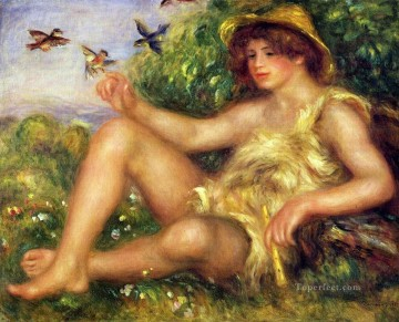 Pierre Auguste Renoir Painting - young shepherd in repose Pierre Auguste Renoir