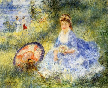 young woman with a japanese umbrella Pierre Auguste Renoir Oil Paintings