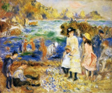 beach scene guernsey Pierre Auguste Renoir Oil Paintings