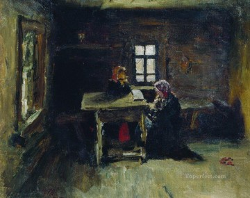 Repin Art Painting - in the hut 1878 Ilya Repin