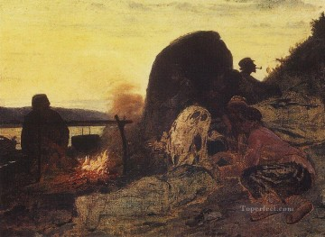 Ilya Repin Painting - barge haulers at the fire 1872 Ilya Repin