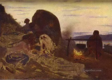 1870 Canvas - barge haulers by campfire 1870 Ilya Repin