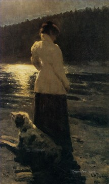 1896 Oil Painting - moonlight 1896 Ilya Repin