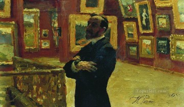 1904 Painting - n a mudrogel in the pose of pavel tretyakov in halls of the gallery 1904 Ilya Repin