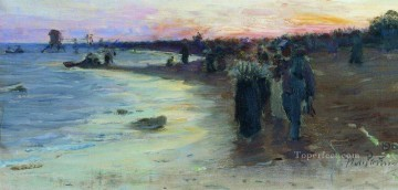 Shore Painting - on the shore of the gulf of finland 1903 Ilya Repin