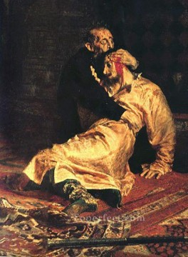 Repin Art Painting - Ivan the Terrible and His Son dt1 Russian Realism Ilya Repin