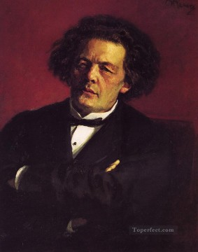 Repin Art Painting - Portrait of the pianist conductor and composer AG Rubinstein Russian Realism Ilya Repin
