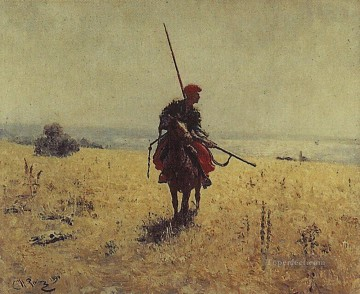 Ilya Repin Painting - cossack in the steppe Ilya Repin