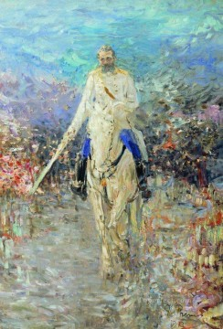 1913 Oil Painting - horse riding portrait 1913 Ilya Repin