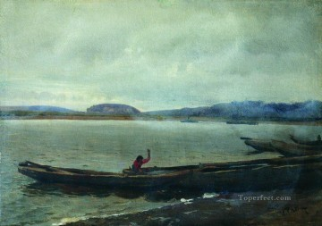 1870 Canvas - landscape of the volga with boats 1870 Ilya Repin