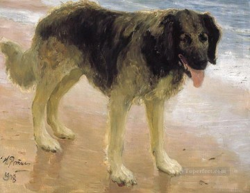 Repin Art Painting - man s best friend dog 1908 Ilya Repin