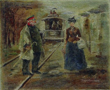 on the platform of the station street scene with a receding carriage Ilya Repin Oil Paintings