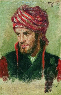 Ilya Repin Painting - portrait of a young man in a turban Ilya Repin