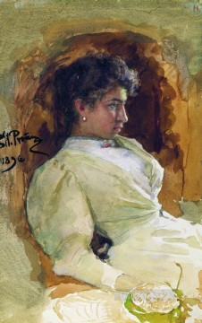 1896 Oil Painting - portrait of n i repina 1896 Ilya Repin