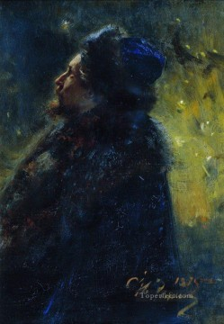 Ilya Repin Painting - portrait of painter viktor mikhailovich vasnetsov study for the picture sadko in the underwater 1875 Ilya Repin