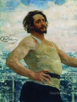 Ilya Repin Painting - portrait of writer leonid nikolayevich andreyev on a yacht 1912 Ilya Repin