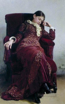 Wife Deco Art - rest portrait of vera repina the artist s wife 1882 Ilya Repin