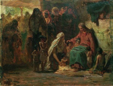 Ilya Repin Painting - blessing children Ilya Repin