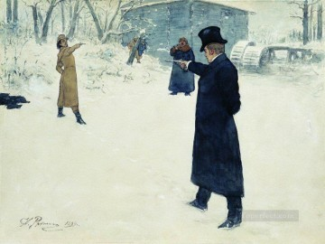 Ilya Repin Painting - duel between onegin and lenski 1899 Ilya Repin