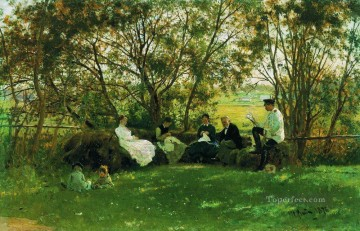 Bench Painting - on a turf bench 1876 Ilya Repin