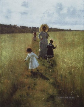 Ilya Repin Painting - on the boundary path v a repina with children going on the boundary path 1879 Ilya Repin