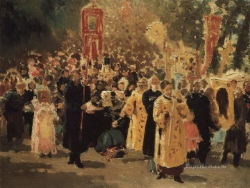 Ilya Repin Painting - procession in an oak forest appearance of the icon 1878 Ilya Repin