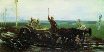 under escort on the muddy road 1876 Ilya Repin Oil Paintings