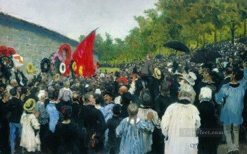 1883 Works - the annual memorial meeting near the wall of the communards in the cemetery of pere lachaise in 1883 Ilya Repin