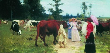 Ilya Repin Painting - young ladys walk among herd of cow Ilya Repin