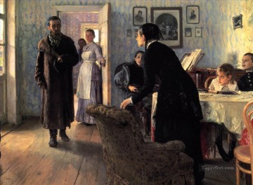 Repin Art Painting - Unexpected visitors Russian Realism Ilya Repin