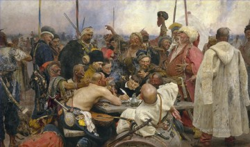 Repin Art Painting - the reply of the zaporozhian cossacks to sultan mahmoud iv 1891 Ilya Repin