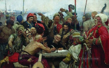 1896 Oil Painting - the reply of the zaporozhian cossacks to sultan mahmoud iv 1896 Ilya Repin