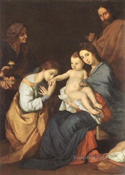 Family Works - The Holy Family with St Catherine Tenebrism Jusepe de Ribera