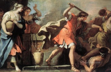 Daughters Art - Moses Defending The Daughters Of Jethro grand manner Sebastiano Ricci
