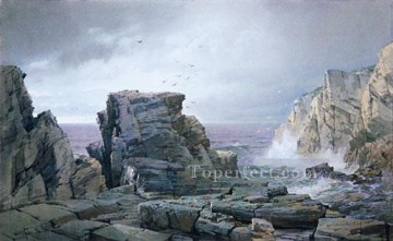 Coast Painting - A Rocky Coast scenery William Trost Richards