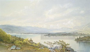 William Canvas - lake Squam And The Sandwich Mountains scenery William Trost Richards