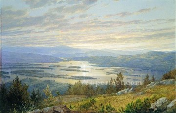 red Oil Painting - Lake Squam From Red Hill scenery William Trost Richards