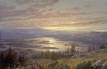 red Oil Painting - Lake Squam from Red Hill MMA scenery William Trost Richards
