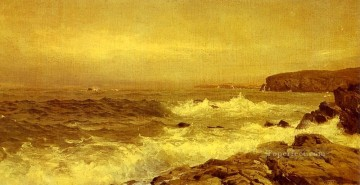 Coast Painting - Rocky Sea Coast scenery William Trost Richards