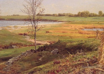 Sea Painting - Salt Marsh by the Sea scenery William Trost Richards