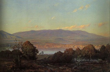 Sun Oil Painting - Sundown at Centre Harbor New Hampshire scenery William Trost Richards