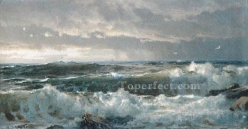 Surf On Rocks scenery William Trost Richards Oil Paintings