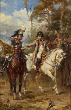 Robert Alexander Hillingford Painting - Napoleon on Horseback Robert Alexander Hillingford historical battle scenes